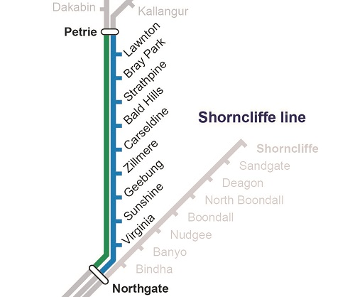 Map of Northgate to Petrie track closure