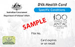 Sample of front of DVA White Health card